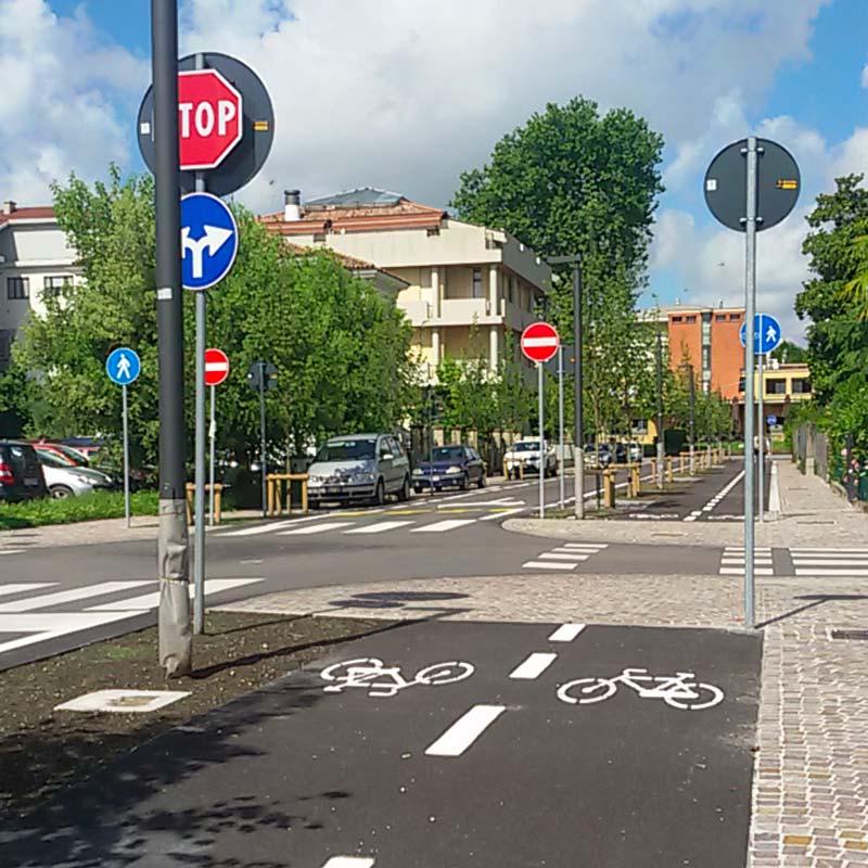 Piste ciclabili e arredo urbano a Mogliano Veneto